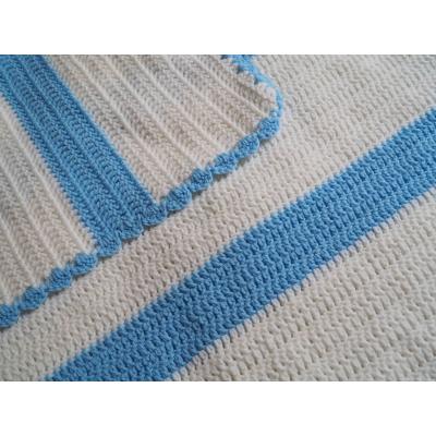 Blue Stripes Crochet Blanket
