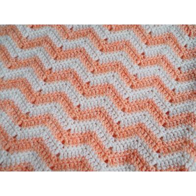 Peach Zigzag Crochet Blanket