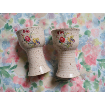 Floral Stoneware Goblets
