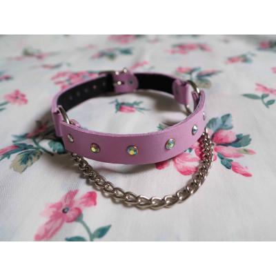 Chain & Sparkle Choker - Pink
